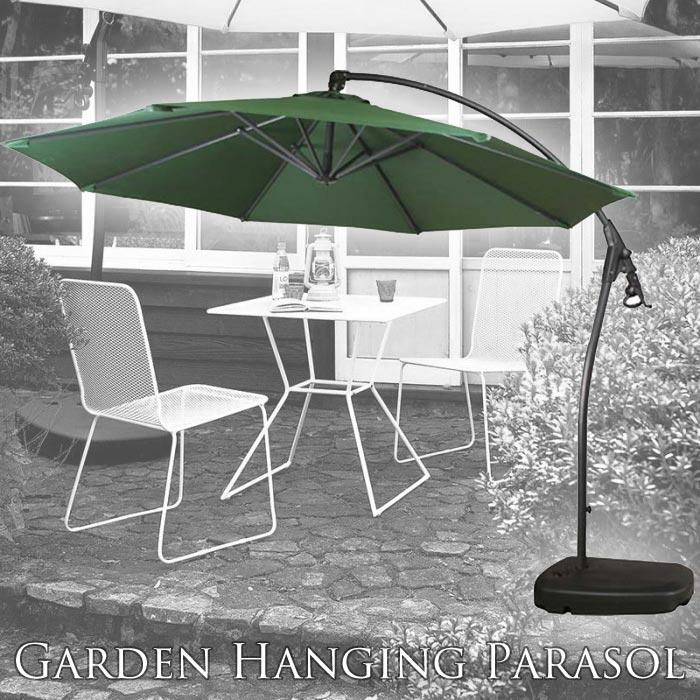 [大型家具/S]【アルミ製/クランク付】《東谷》ガーデン用ハンギングパラソル(294cmタイプ)+専用ベース(タンク式※水満タン時50kg)セット ~大規模ガーデン使用可~ ガーデンパラソル 自立式 八角形 rkc-529gr