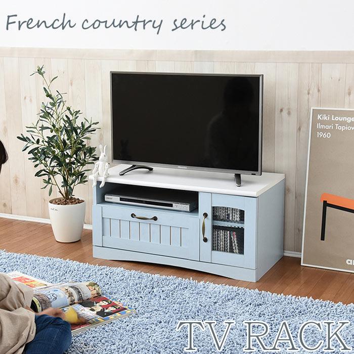 《JKP》フレンチカントリー家具 テレビ台 幅80 フレンチスタイル ブルー&ホワイト FFC-0001