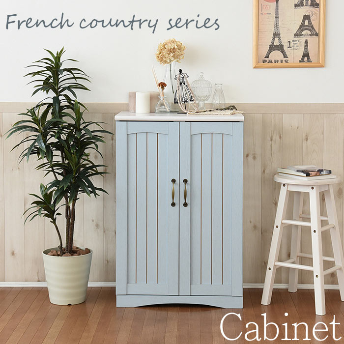 《JKP》フレンチカントリー家具 キャビネット 幅60 フレンチスタイル ブルー&ホワイト FFC-0002