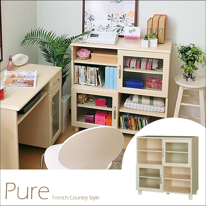 《佐藤産業》 Pure ピュア キャビネット 本棚 収納 リビング 木製 ガラス ナチュラル カントリー PAC90-90G