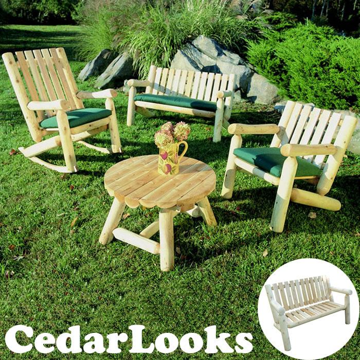 【送料無料+10%以上OFF】《SMST》Cedar Looks パークベンチ【送料無料 天然木製 アウトドア ガーデンファニチャー ホワイトシダー 米杉 ログファニチャー セット 屋外 庭 園芸 エクステリア】