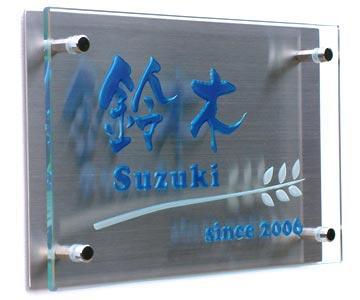 表札 戸建 ガラス と ステンレス 表札 (ひょうさつ) 少し大きなサイズ「煌2」  送料無料