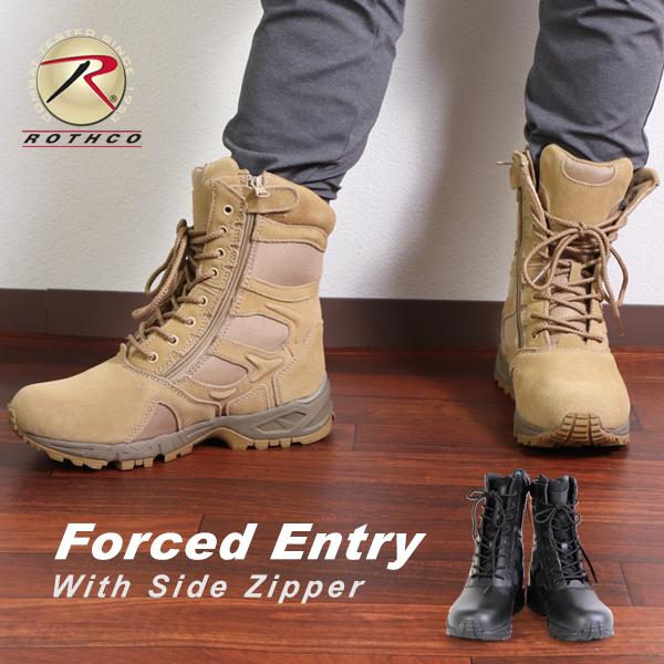 ロスコ ROTHCO ブーツ サイドジッパー タクティカルブーツ メンズ レディース レギュラー 靴ディプロイメント ミリタリー コンバットブーツ デザートタン ブラック 黒レースアップ Forced Entry 8