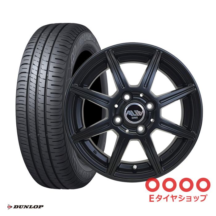 【取付対象】軽乗用車155/65R14 75S ダンロップ エナセーブ EC204 ホイール:アリア 14×4.5 PCD100/4H +43 カラー:マットブラック サマータイヤ ホイールセット 4本セット