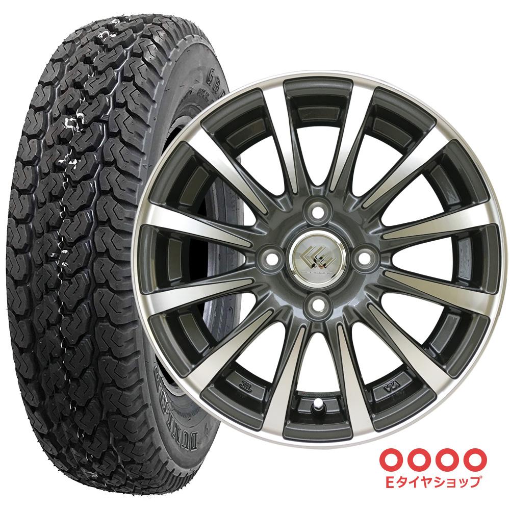 軽トラック タイヤ145R12 6PR ダンロップ グラントレック TG4 ホイール: セレブロ JB12 12×4.0 PCD100/4H +43 JWL-T カラー:ガンメタポリッシュ サマータイヤ ホイール4本セット