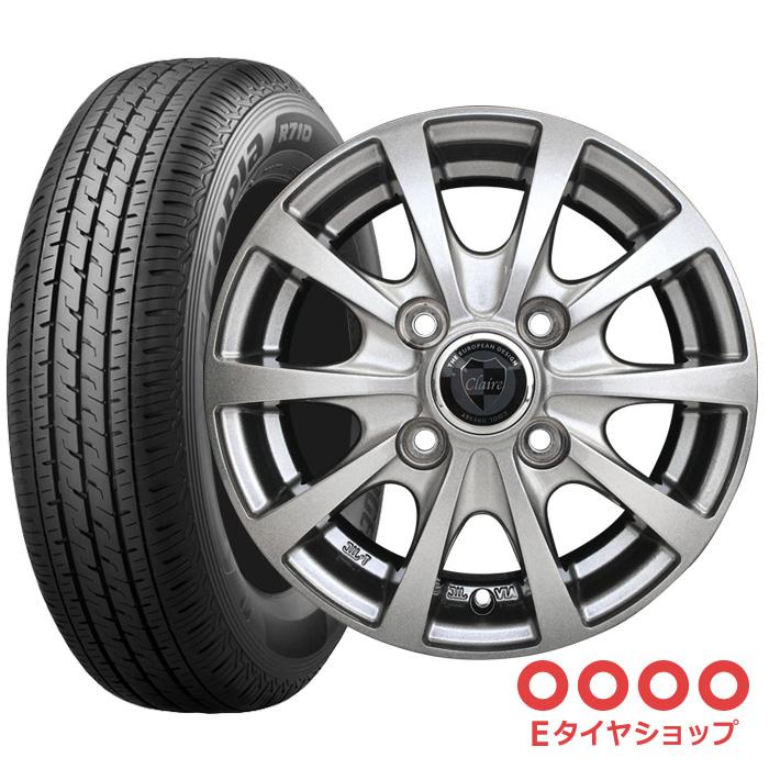 軽トラ タイヤ145/80R12 80/78N(145R12 6PR) ブリヂストン R710 ホイール:RG10 12×3.5 PCD100/4H +45 JWL-T カラー:メタリックグレーサマータイヤ ホイールセット 4本セット