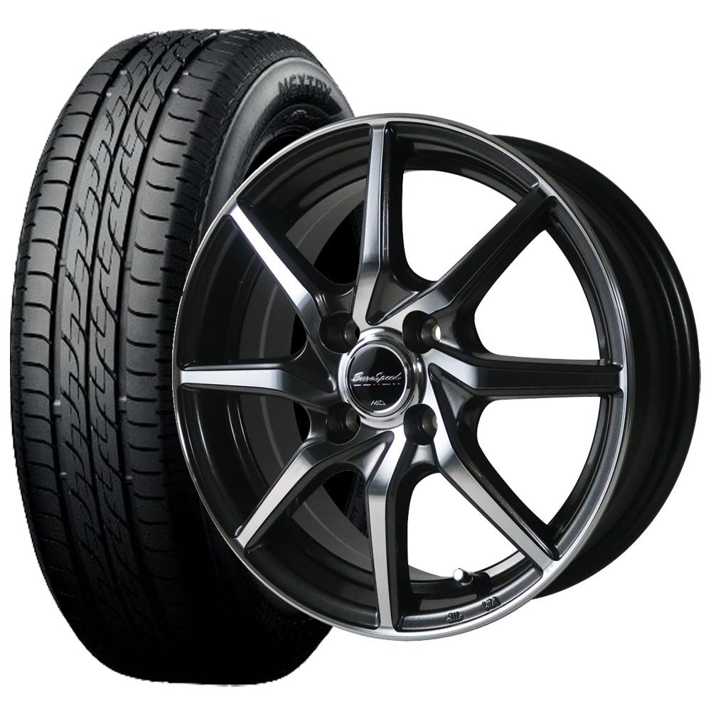 【取付対象】軽乗用車ブリヂストン ネクストリー 155/65R14 ユーロスピードS810 14×4.5 PCD100/4H +45 カラー:ダークガンメタリックポリッシュ サマータイヤ ホイールセット