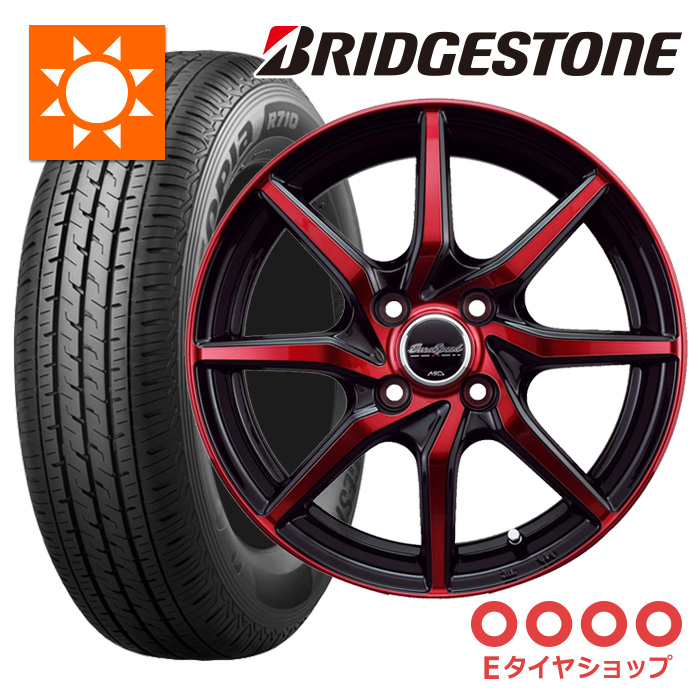 軽トラ タイヤ145/80R12 80/78N ブリヂストン R710 ホイール:ユーロスピード S810 12×4.0 PCD100/4H +43 JWL-T カラー:レッドクリアダークガンメタポリッシュサマータイヤ ホイールセット 4本セット