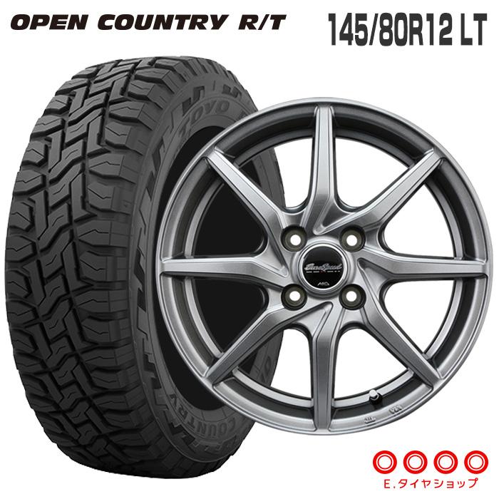 145/80R12 LT トーヨータイヤ オープンカントリー RTユーロスピード G810 12×4.0 100/4 +43 JWL-T 12インチ メタリックグレー サマータイヤ 夏タイヤ 4本 ホイールセット