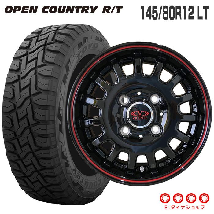 キャリィ DA16T/エブリィ DA17V 145/80R12 LT トーヨータイヤ オープンカントリー RTヴィセンテ04 12×3.5 100/4 +45 JWL-T ブラック/レッドライン軽トラック サマータイヤ 4本ホイールセット