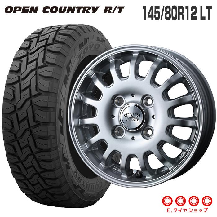 キャリィ DA16T/エブリィ DA17V 145/80R12 LT トーヨータイヤ オープンカントリー RTヴィセンテ04 12×3.5 100/4 +45 JWL-T シルバー軽トラック サマータイヤ 4本ホイールセット