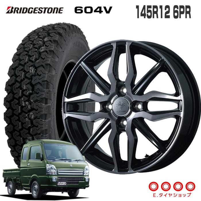 145R12 6PR ブリヂストン 604Vディルーチェ XN5 12×3.5 100/4 +44 JWL-T ブラッククリアポリッシュ (BCP)12インチ 軽トラック タイヤ 4本 ホイール セット