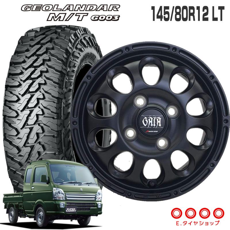 145/80R12 LT ヨコハマ ジオランダー M/T G003ガイアクロス 12×3.50B PCD100/4穴 +45 JWL-T マットブラック 12インチ 軽トラック タイヤ 4本 ホイール セット MT