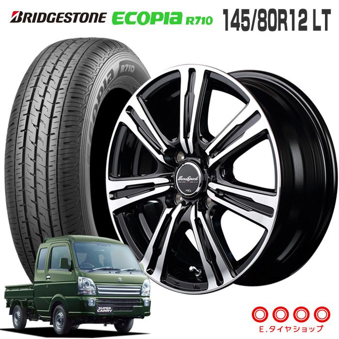 キャリィ DA16T/エブリィ DA17V 145/80R12 LT ブリヂストン エコピア R710ユーロスピード BC-7 12×3.5 100/4 +42 JWL-T 12インチ ブラックポリッシュ軽トラック サマータイヤ 4本ホイールセット