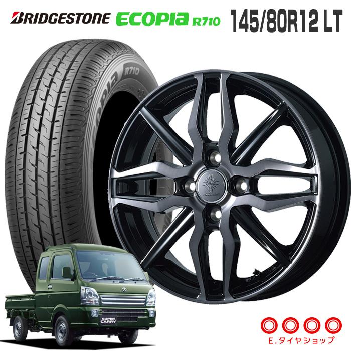 145/80R12 LT ブリヂストン エコピア R710ディルーチェ XN5 12×3.5 100/4 +44 JWL-T ブラッククリアポリッシュ (BCP)12インチ 軽トラック タイヤ 4本 ホイール セット
