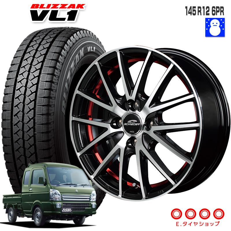 +42 ブリザック スタッドレス RX27 ブリヂストンシュナイダー VL1 JWL-T 軽トラック タイヤ セット ブラックメタリックポリッシュ+アンダーカットレッドクリア12インチ 6PR ホイール PCD100/4 145R12 12×4.00B 4本
