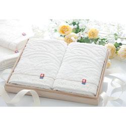 バスタオル 2枚組 白織タオル プレミアムギフト(木箱入り) ホワイト 日本製(今治)