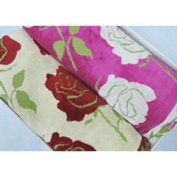 バスタオル2枚組 フォルテ2 バラ柄ジャガード織  ギフト箱入り ベージュ&ピンク 70×140cm 日本製