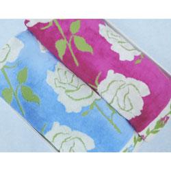バスタオル2枚組 フォルテ2 バラ柄ジャガード織  ギフト箱入り ピンク&ペールスカイ 70×140cm 日本製