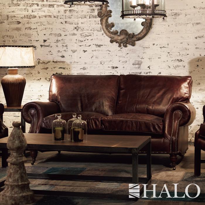 ソファ HALO (ハロー) BALMORAL(バルモラル)2.5人掛け 2.5P 幅200 ブラウン ブラック デザイナーズソファ 革張り レザー レザーソファ 高級ソファ 手作り ハンドメイド SOFA