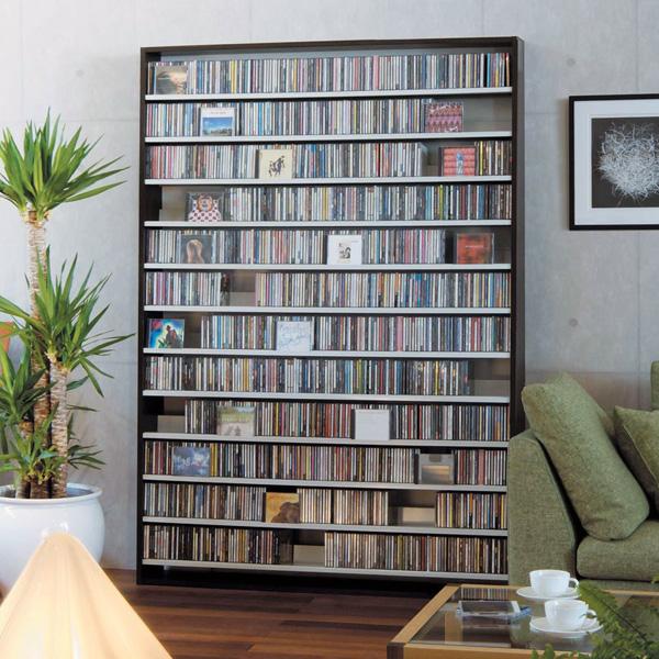 CD屋さんのCDラック 大容量 CD1,668枚収納可能 インデックスプレート20枚付き | おしゃれ ラック シェルフ 収納棚 収納ラック DVD収納 CD収納 ナチュラル ホワイト 白 ダークブラウン cdラック cd収納ラック dvd収納ラック オーディオラック cd dvd 壁面収納 スリム 薄型