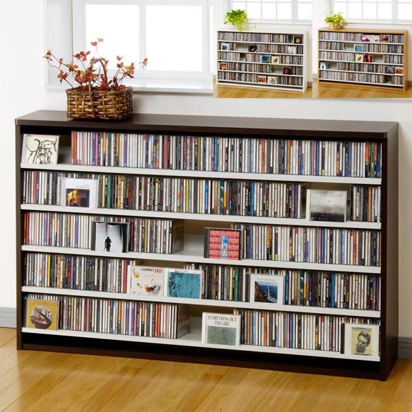 幅139.2cm CD695枚収納 コレクター仕様CDラック 木製 大容量 デザイン プロ 業務用 大量 本棚 インデックスプレート20枚付きDVDラック DVD収納 家具 送料無料(ラック シェルフ おしゃれ 収納棚 収納ラック CD収納)