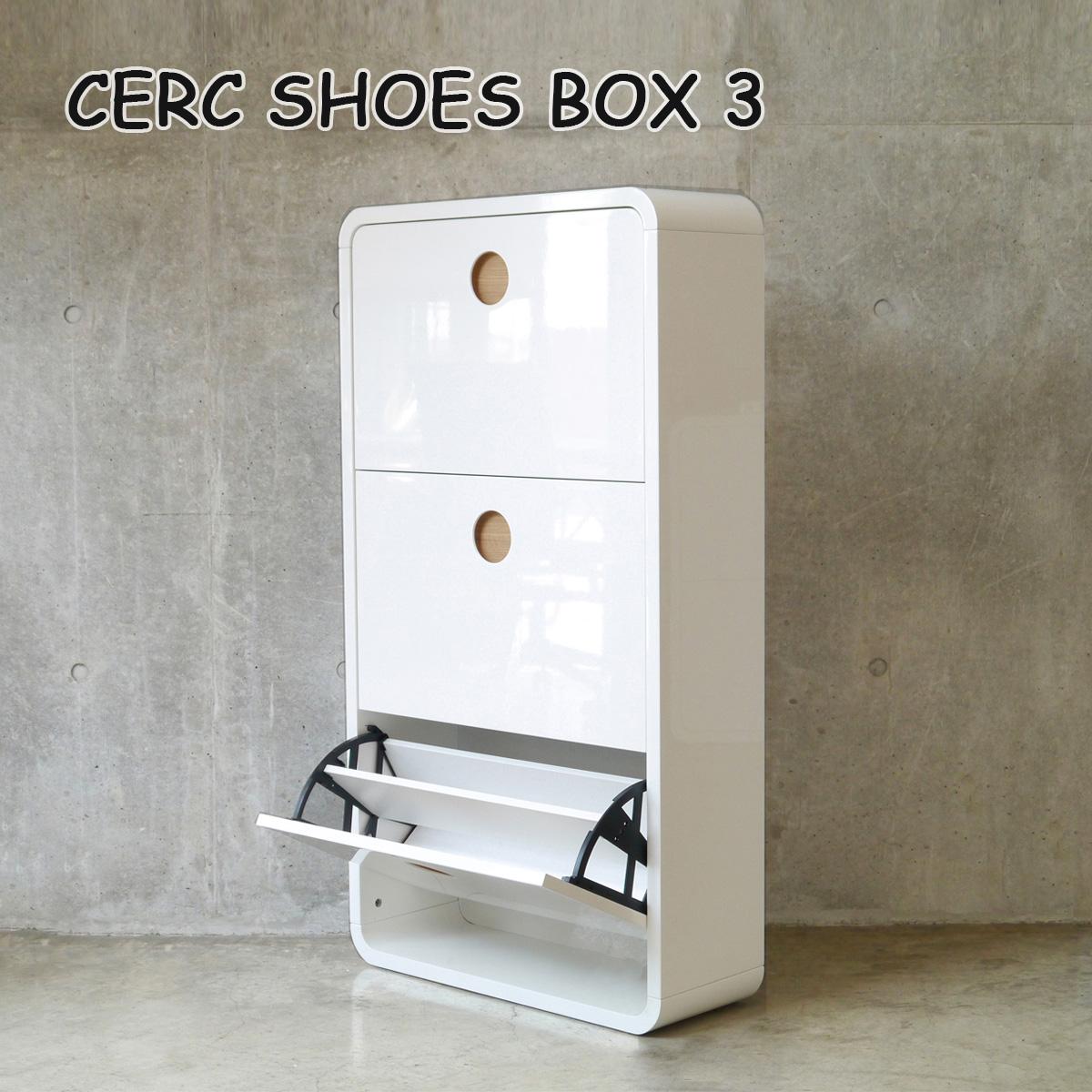 セルク シューズボックス 3段 CERC SHOES BOX 3 白 ホワイト完成品 フラップ扉 奥行き24cm スリムタイプ シンプル 転倒防止