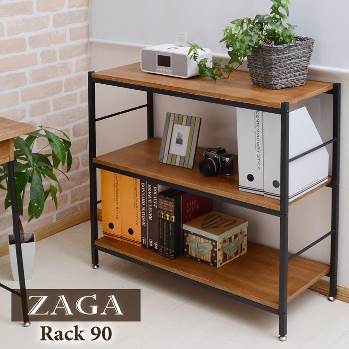 木製ラック 幅90 オープンシェルフ ラック ウッドラック パイプラック アンティーク調 陳列棚 美しい本棚