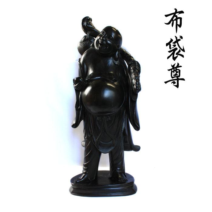 【展示品、現品限りの特別価格】高級天然木 黒檀 七福神 布袋尊 1 ホテイ 置物 インテリア オブジェ 手彫り
