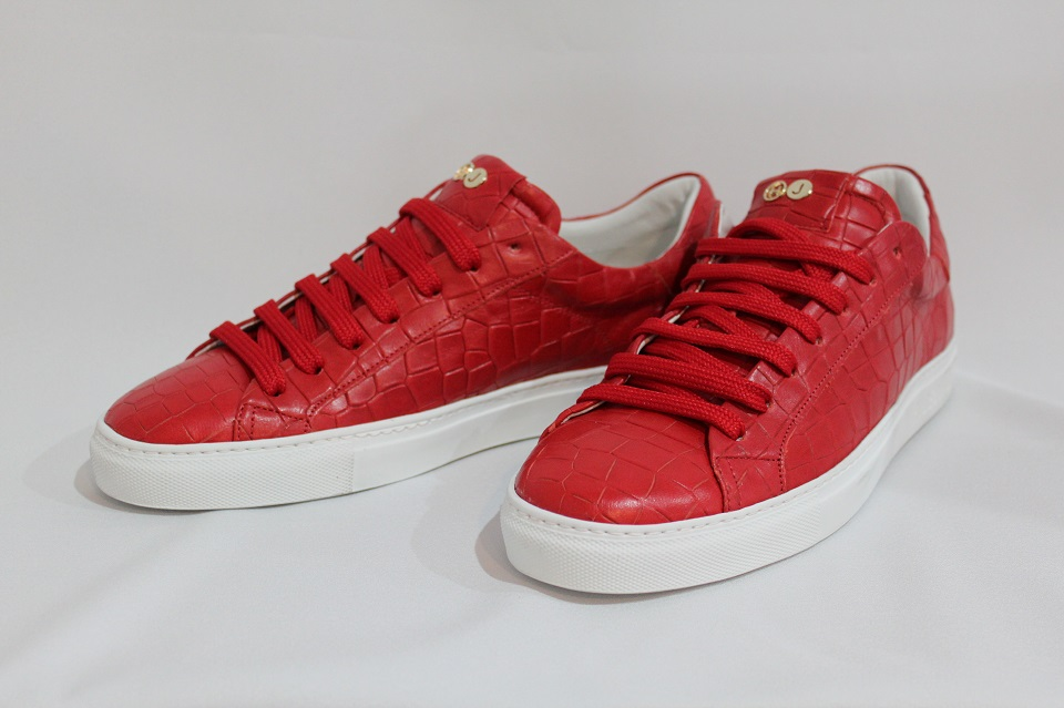 【HIDE&JACK ハイド&ジャック】クロコ型押しレザースニーカーLow Top Sneaker(SUPER RED)