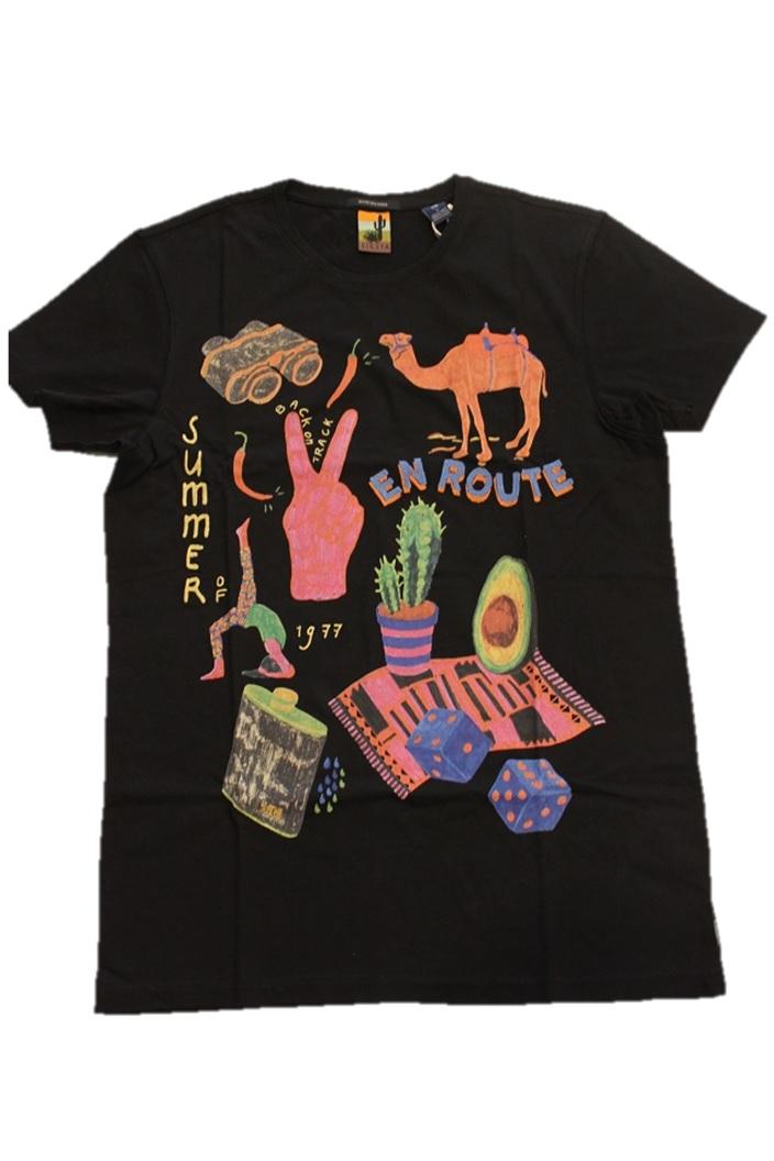 SCOTCH&SODA【スコッチ&ソーダ】S/S TEE プリント&刺繍TシャツS.I.E.S.T.A(292-54407-08)