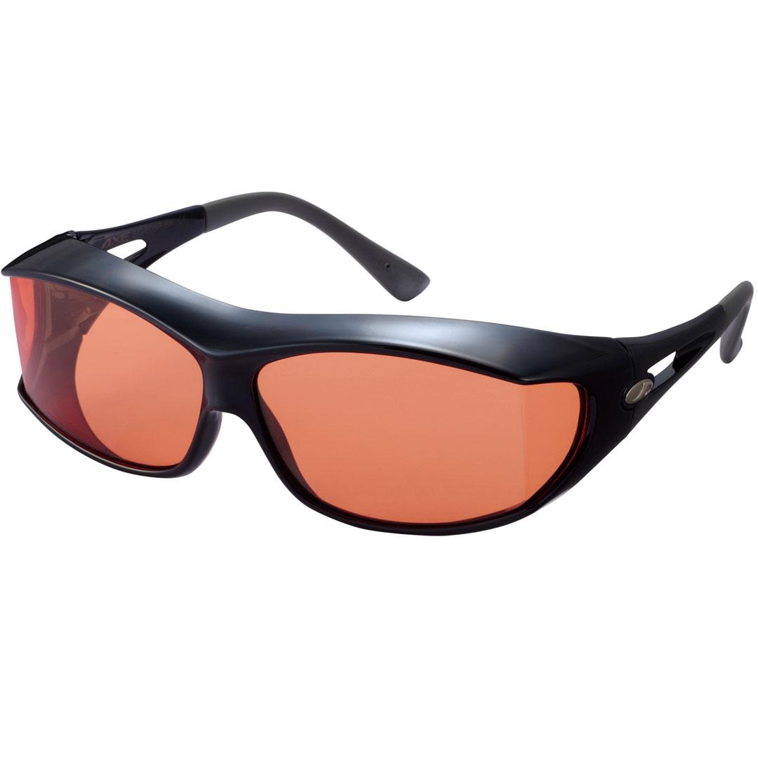 180度以上の視界が確保できるオーバーグラス 偏光レンズ オーバーグラス AXE アックス シャイニーブラック ブライトオレンジ 価格交渉OK送料無料 あす楽 訳あり SG-605P OR