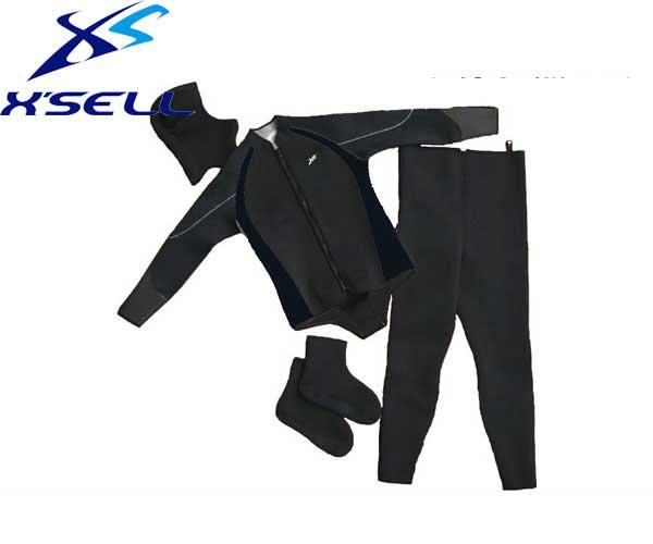 【スーパーセール 10%OFF】 エクセル X'SELL LF-508 ウェットスーツ4点セット 3.5mmパイル地【 送料無料 ( 北海道 ・ 沖縄除く ) 】上衣・タイツ・フード・ソックスのお得な4点セット
