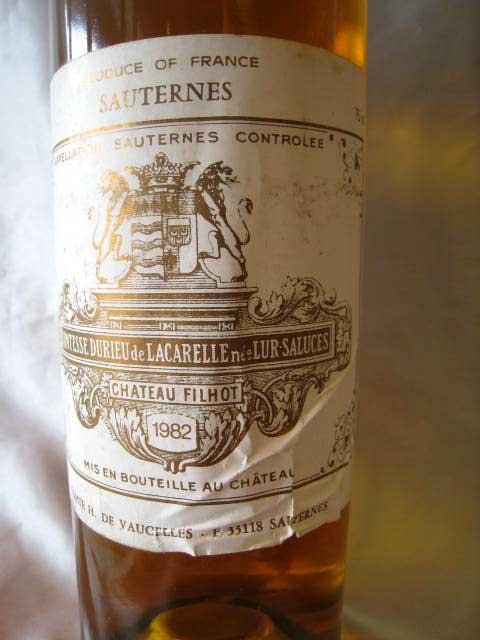 【訳あり】[1982] シャトー・フィロ 750ml ソーテルヌ Chateau Filhot / Sauterne