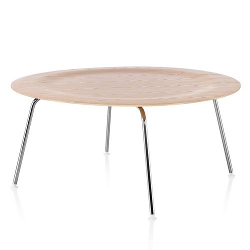 【ポイント5倍!】HermanMiller ハーマンミラー 「Eames Plywood Coffee Table」スチールベース/クローム/ホワイトアッシュ【取寄品】