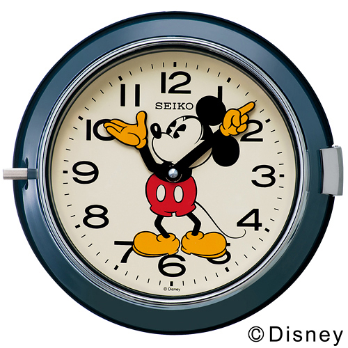 【お買い物マラソンで最大ポイント32倍!8/9(木)1:59まで】SEIKO (セイコー)「Mickey Wall Clock FS504L」 φ232mm / ネイビー