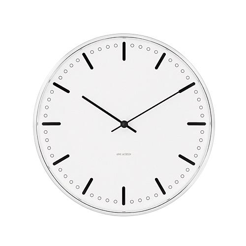 【限定クーポン!最大1000円OFF】【ポイント10倍!】ARNE JACOBSEN(アルネヤコブセン)掛時計 City Hall(シティホールクロック) 210mm ホワイト