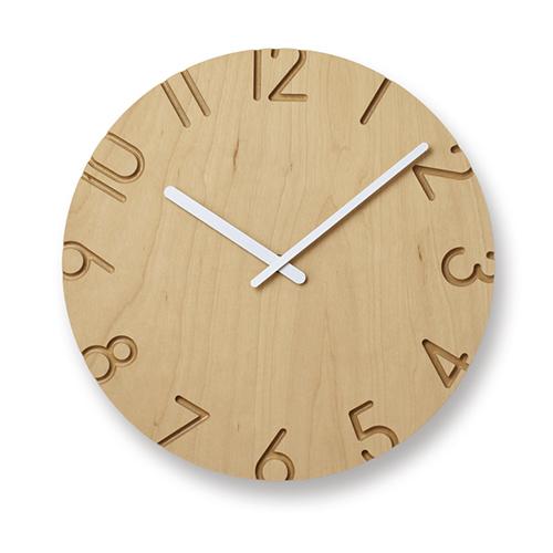 立体的文字盤が空間に調和 人気壁時計を異素材で表現 ポイント10倍 Lemnos レムノス 掛時計 新入荷 流行 店内全品対象 BIRCH CARVED WOOD カーヴド バーチ ウッド
