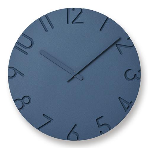 立体的文字盤が空間に調和 人気壁時計がカラフルに変身 ポイント10倍 ☆最安値に挑戦 Lemnos レムノス 掛時計 Φ305mm カラード 2020 COLORED カーヴド CARVED ブルー