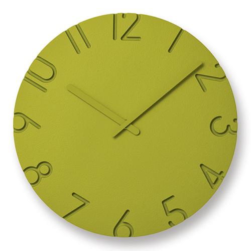 立体的文字盤が空間に調和 人気壁時計がカラフルに変身 ポイント10倍 Lemnos タイムセール レムノス 掛時計 COLORED CARVED Φ305mm カラード スピード対応 全国送料無料 グリーン カーヴド