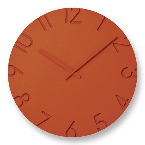 立体的文字盤が空間に調和 人気壁時計がカラフルに変身 期間限定特価品 最安値挑戦 ポイント10倍 Lemnos レムノス 掛時計 カラード CARVED Φ305mm オレンジ カーヴド COLORED