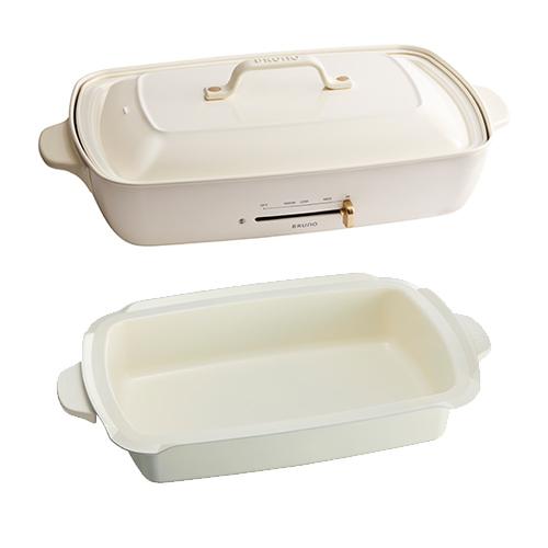 【ポイント5倍!】【6月中旬以降入荷予定】BRUNO(ブルーノ)キッチン家電 ホットプレート【深鍋セット】 ホワイト