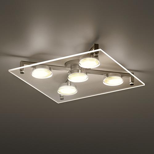 【ポイント10倍!】yamagiwa(ヤマギワ) 照明器具 シーリングライト 照明「P-FLAT」 5灯 / クリア (ランプ別)