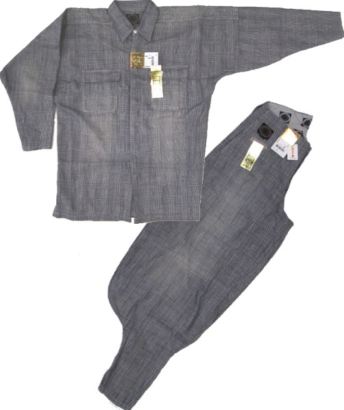 手甲シャツ・3L寸+B-3・L寸の上下組レインボーチェック