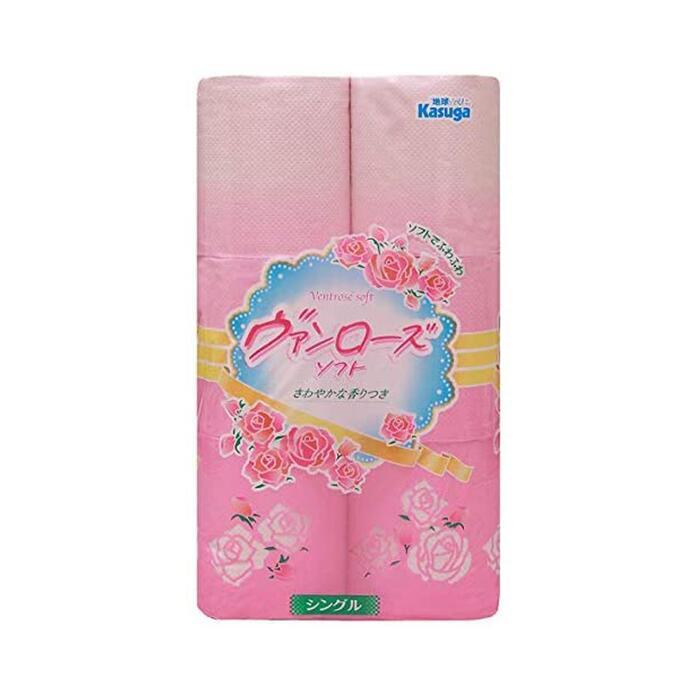 ヴァンローズ シングル 12ロール×8パック トイレットペーパー ピンク 物品 !超美品再入荷品質至上!