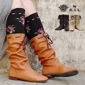 ● ● ruffled and hand-adjustable length leather boots! With Ribbon boots / spring boots casual boots styles suits whatever girly style ◆ C. I. L. レザールージー boots