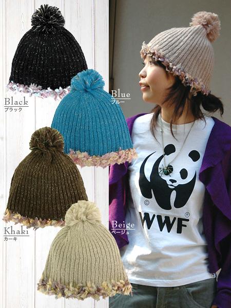 Flower tiara knit cap