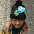Bright flower soft knit sign! Big Bon Bon with girly knit hat ◆ fluffy flowers knit Cap
