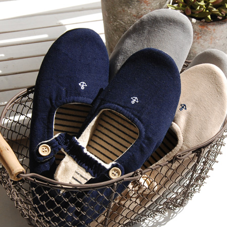 Ikari natural cotton linen slippers engraved pattern embroidery. Inside the pile material and bare feet even refreshing! to fit their feet heel rubber & Konan belt specifications and room shoes / slippers for women ladies ◆ BON VOYAGE マリンストラップ room s