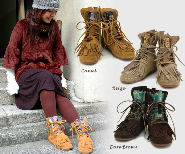 Personality group handmade product boots to get a difference to seasonal fringe boots by a cross and mixture of the real leather suede! ◆C.I.L. folklore suede bootie